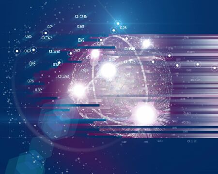 Quantum computing abstract tech background concept. Learning artificial intelligence element. Cryptography infographic vector. Big data.