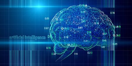 Abstract background with wire brain and code in lines. AI. Artificial intelligence. Science and Technology futuristic concept.
