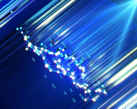 Big data. Abstract futuristic background with grid particles and blurred lines. Business and science visualization of artificial intelligence. Stock Photo