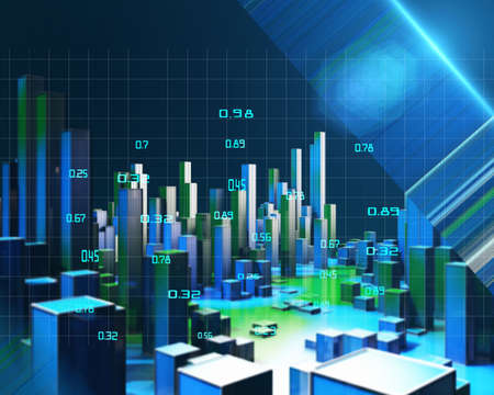 3D illustration abstract infographic with blue green columns and blurred lines. Business and finance analytics representation. Futuristic geometric analyze data concept. Big Data.