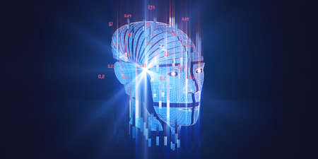 Big data. 3D rendering of abstract background with wireframe human head cyborg. Big data. Futuristic analytics artificial intelligence data concept. Polygonaly robot with bllured lines and effects lense fortechnology and science banner.
