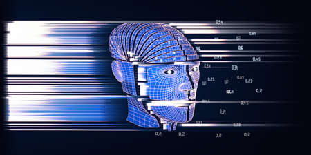 3D illustration of abstract background with wireframe human head cyborg. Futuristic analytics artificial intelligence data concept. Big data. Polygonaly robot with bllured lines and effects lense fortechnology and science banner. Big data.