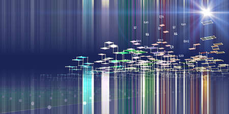Abstract analysis algorithms data background with color blurred lines. 3d diagram analysis infographics. Data chart. City network concept. Big data.