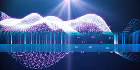 Big data. Abstract futuristic visualization of wavy grid artificial intelligence. Big data. Quantum virtual cryptography. Blockchain. Analytics algorithms datas.