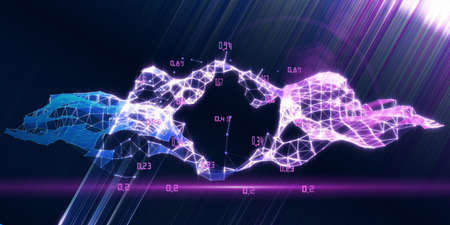 Big data. Abstract visualization analyze of artificial intelligence algorithm. Quantum virtual cryptography concept with colorful grid and blurred lines. Analytics algorithms data. Blockchain.