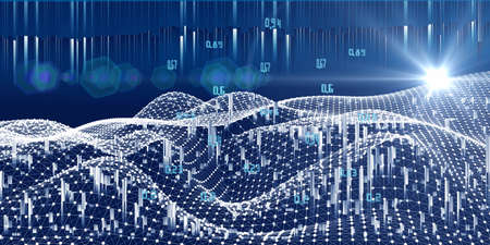 Big data. Abstract visualization polygonal grid of artificial intelligence concept with blured lines. Quantum virtual cryptography. Blockchain. Analytics algorithms datas. Banque d'images
