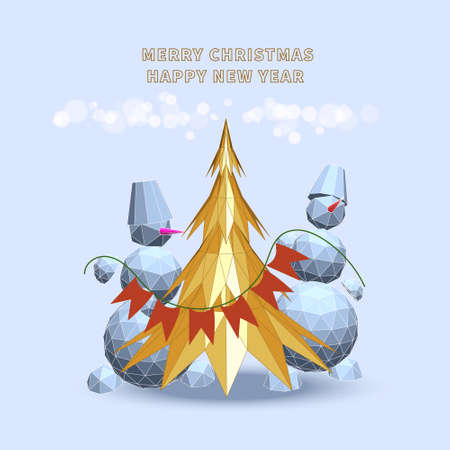 Christmas holiday concept with two snowmans and gold christmas tree in polygonal cartoon style on white background. Illustration