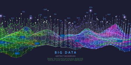 Big data. Abstract visualization polygonal algorithm grid analyze data. Quantum cryptography concept. Blockchain. Analytics algorithms data. Banner for bussines, science and techology. Ilustración de vector