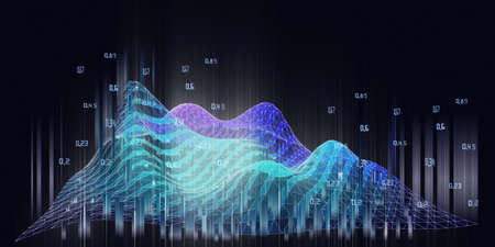 Abstract background with wireframe analytical algorithm analyze data with blurred lines. Big data. Quantum cryptography concept. Analytics algorithms data. Banner for business, science and technology. Banque d'images