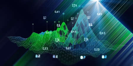 Big data. Futuristic background with wireframe algorithm analyze data and blurred lines. Quantum cryptography concept. Analytics algorithms data. Banner business, science and technology. Banque d'images