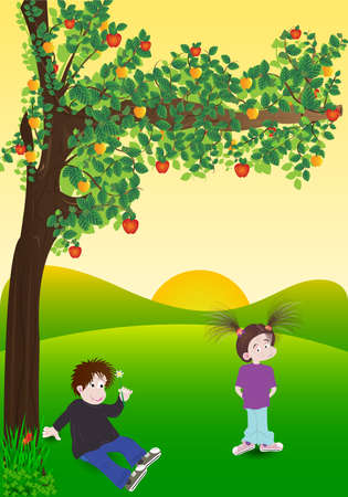 country side:   illustration of boy and girl under the tree  Used opacity, transparency and blending mode