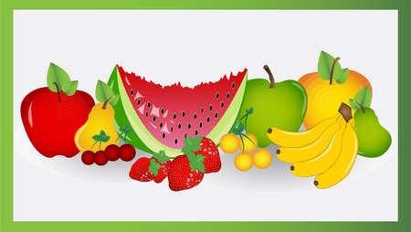 green apple slice: EPS 10 Vector illustration fruit  Used opacity, transparency and blending mode