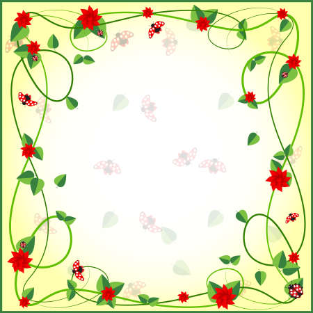 EPS 10 Vector illustration of gift card with ladybug and flowers Used opacity, transparency and blending mode