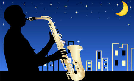 EPS 10 Vector illustration of jazz musician by night  Used opacity, transparency and blending mode Vector