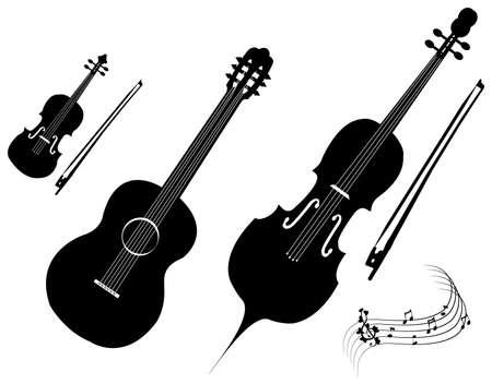 chiave di violino: illustrazione di sagome di strumenti