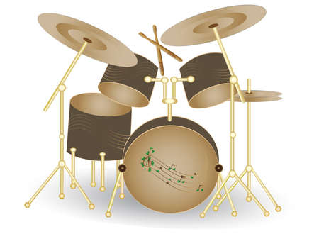 cymbals:  illustration of drums set Illustration