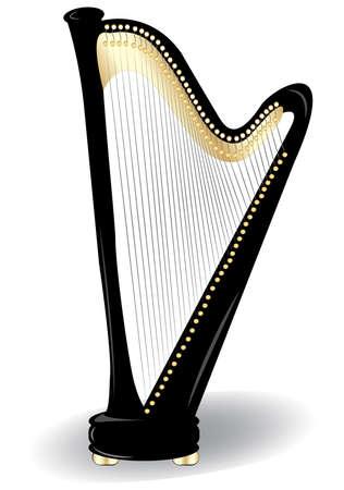 string instrument: illustration of harp.
