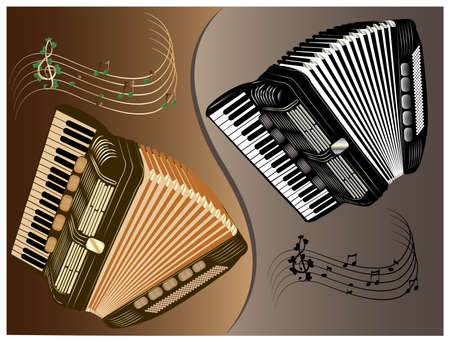 accordion: illustration of black and brown accordion