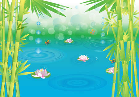 illustration of magical wetlands with bamboo. Vector