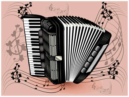 folk art: illustration of black accordion. Illustration