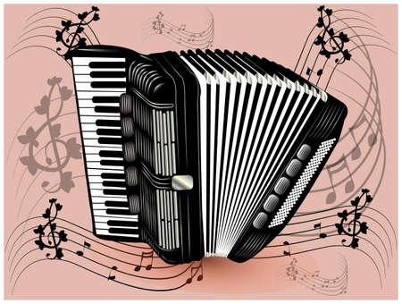acordeón: ilustración de acordeón negro.