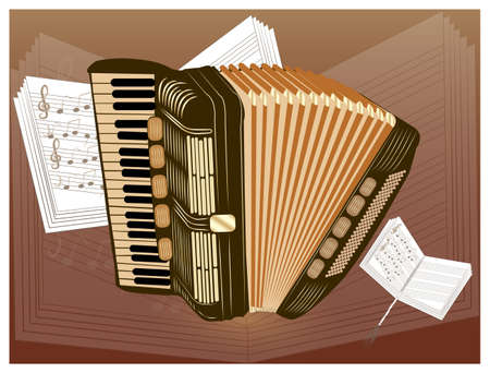 ob brown accordion  Vector