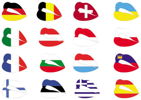 finland flag: lips on flags. Illustration