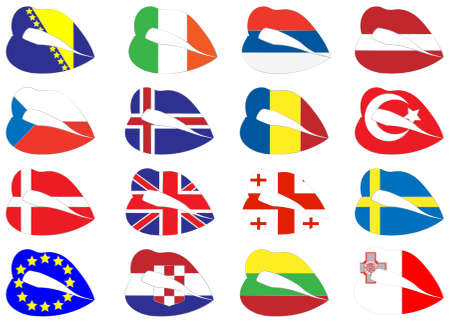 lips on flags. Stock Vector - 14604611