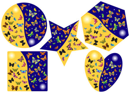 Vector illustration of butterflies in different shapes. Vector