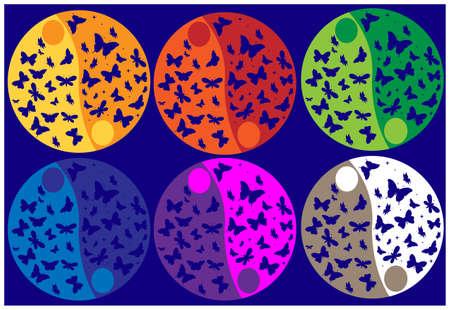 taijitu: Ying Yang color butterflies. Illustration