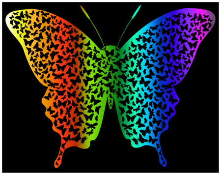 violet red: butterfly with rainbow colors. Illustration