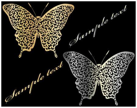 prata: borboleta de ouro e prata