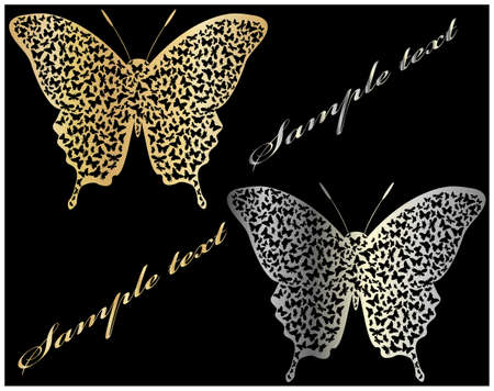 silver jewelry: gold and silver butterfly  Illustration