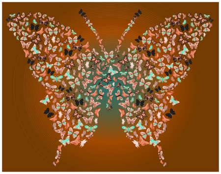 illustration of butterfly made of butterflies