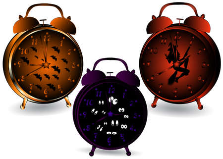 illustration of Halloween designed clocks. Vector