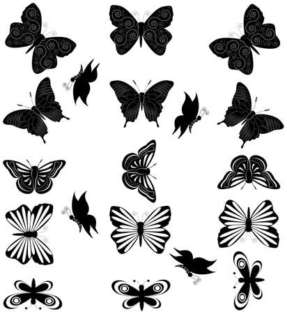 illustration of butterfly silhouettes Stock Vector - 15134685