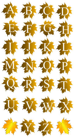 Vector illustration of alphabet on leaves Stock Vector - 15301324