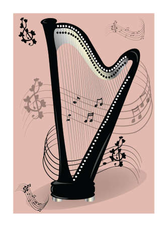 Harp on pink background