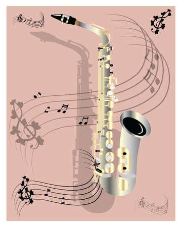 single color image: Saxophone on pink backround Illustration