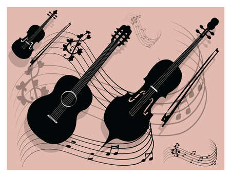 String instruments on pink background