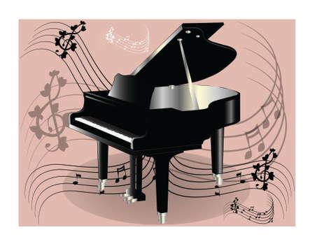 backround: Piano on pink backround