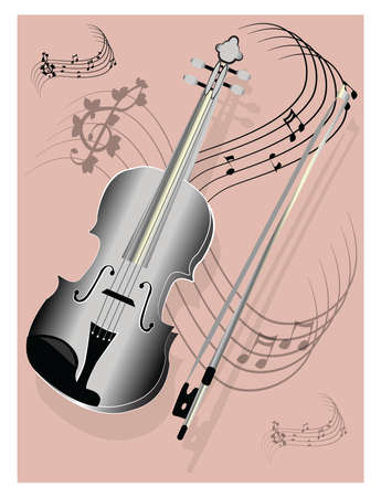 fiddle bow: Silver violin on pink background
