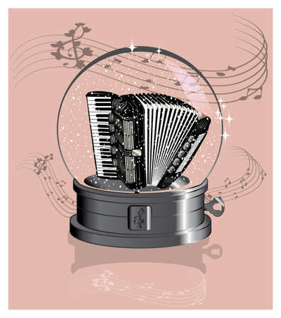 Accordion in the music crystal ball Illustration