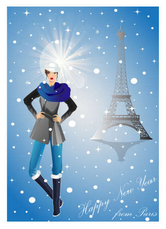 Girl in Paris on new year