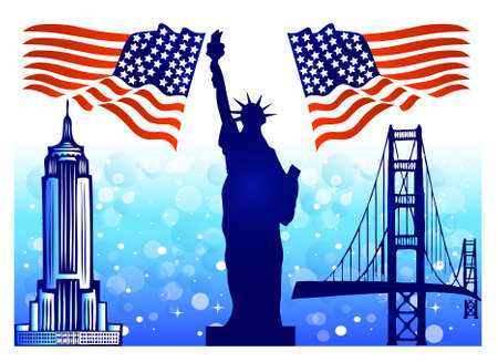 manhattan bridge: Flags of USA with USA famous buildings
