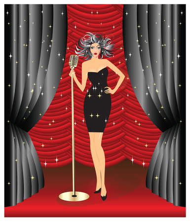 little black dress: Lady singing on stage in little black dress Illustration