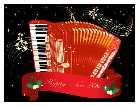 Red accordion - New Year set