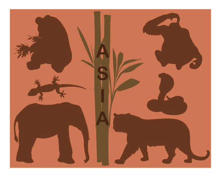 bamboo snake: Animal silhouettes - Asia Illustration