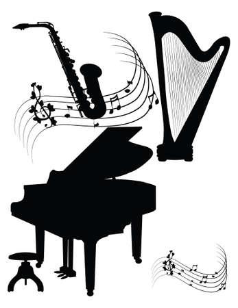 chiave di violino: Silhouettes - piano-arpa - Sax
