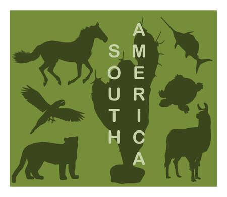 animal silhouettes: Animal silhouettes - South America